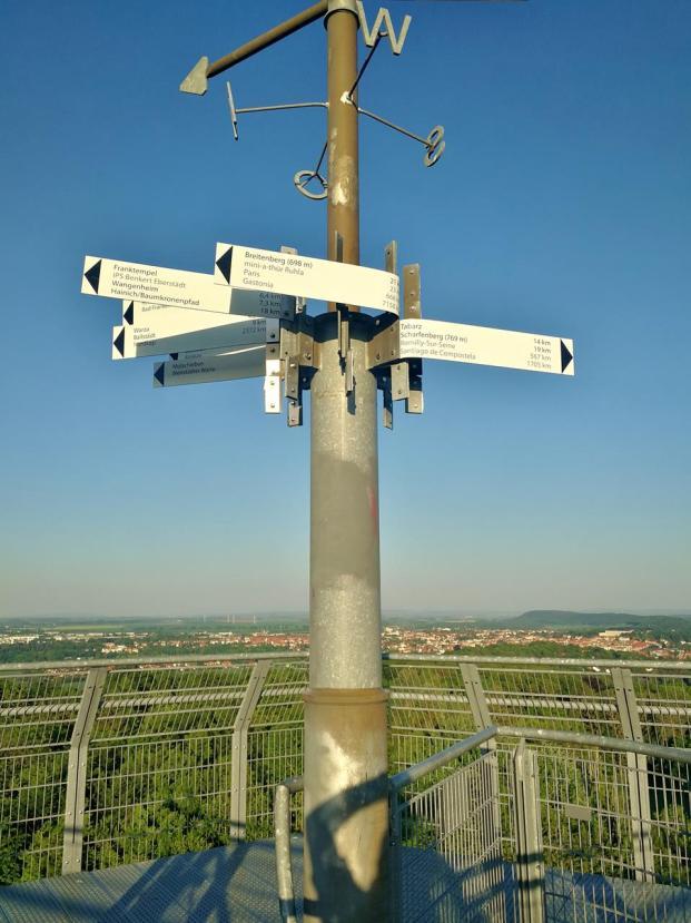Windrose mit Entfernungsangaben auf der Turmspitze