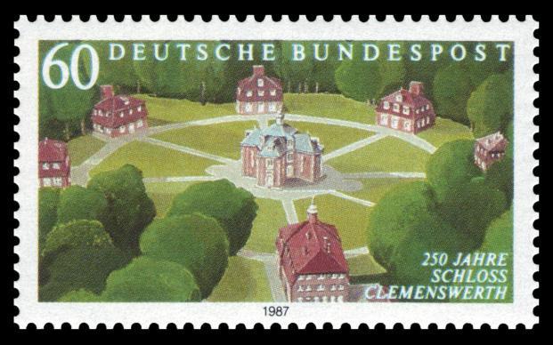 Schloss Clemenswerth auf einer Briefmarke der Deutschen Bundespost von 1987