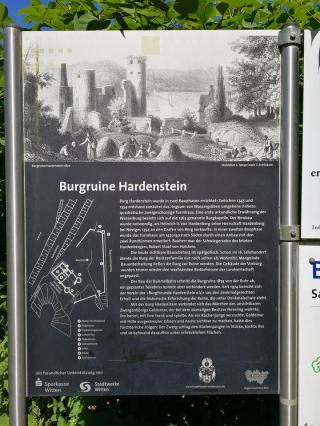 Infotafel an der Ruine Hardenstein