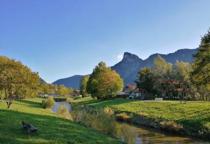 Die Ammer am Nordrand von Oberammergau