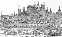 Das älteste bekannte Bild von Nürnberg inklusive der Burg aus der Schedelschen Weltchronik von 1493