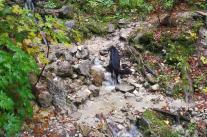 Beim Abstieg müssen wir mehrere Wildbäche passieren