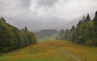 Blick von der Kolbenalm hinunter nach Oberammergau