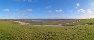 Panoramabild vom Deich bei Schillig: Blick in Richtung Watt