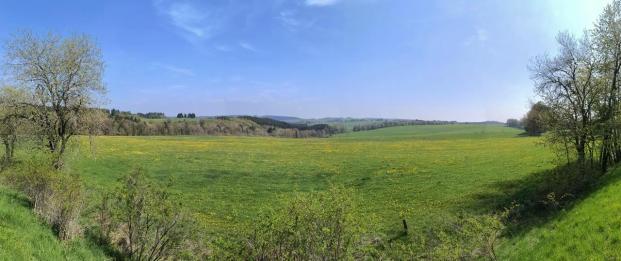 Panoramablick oberhalb des Urfttals in die Eifellandschaft