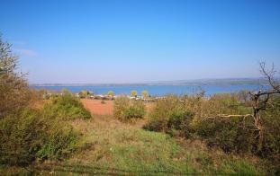 Blick beim Aufstieg zum Campingplatz am Seeufer