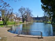 Der See im Weimarhallenpark, links das neue Gebäude des Bauhaus-Museums