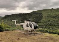 Hubschrauber-Parkplatz im Weinberg für die Ausbringung von Insektiziden.