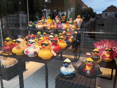 Invasion einer Armee der Entchen in einem Geschäft am Marktplatz