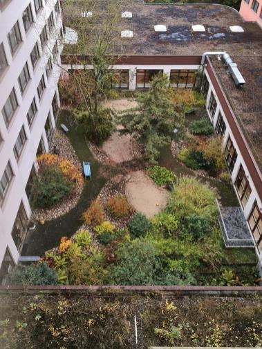 """Blick in den Innenhof mit dem """"Garten der Stille"""""""
