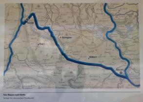 Wasserkarte mit Rhein, Maas und dem nie fertiggstellten Nordkanal als Verbindung