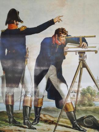 Französische Offiziere bei den Vermessungsarbeiten zur Errichtung des Nordkanals