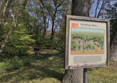 Auf dem Rückweg: Abstecher durch Keyenberg vorbei an einer frühzeitlichen fränkischen Wohnanlage, der Keyenberger Motte