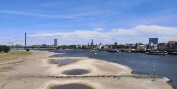 Der Rhein führt zur Zeit wenig Wasser
