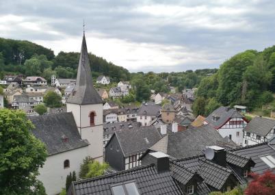 Blick vom Zuckerberg über die historische Altstadt mit der Ahrquelle