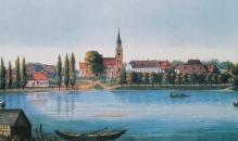 Historische Ansicht auf das Kloster am Westufer von Malchow