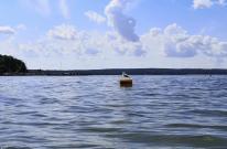 Der See ist am Ufer sehr flach. Tonnen markieren für Boote die Farhrrine und auf jeder Tonne sitzt eine Möwe.