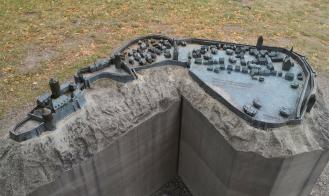 Modell des historischen Blankenbergs mit der Burg und der Stadtmauer um die historische Altstadt