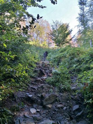 Steiler Aufstieg zum Franziskaschacht
