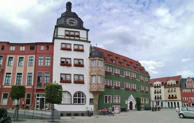 Panoramabild vom Rathaus am Markt