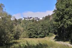 Blick hinauf zur Burg Wildenburg