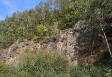 Geologischer Aufschluss am Rande der Grube 7
