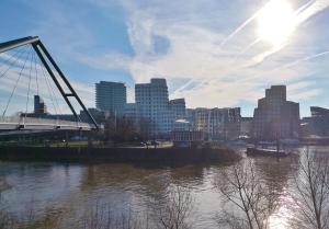 Blick hinüber zu den Gehry-Bauten im Medienhafen