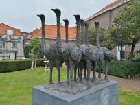 Skulptur im Gemeinschaftsgarten eines Häuserblocks an der Smeepoortstraat