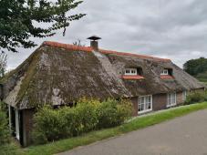 Geducktes Reetdachhaus hinter dem Deich südlich von Hasselt