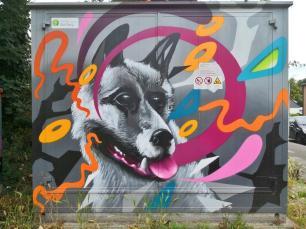 Streetart auf einem Stromkasten in Duiburg-Baerl