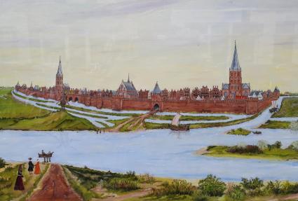 Historisches Billd von Zutphen mit der Ijssjel und seinen Kanälen