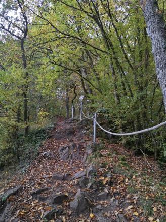 Hier geht es steil bergauf. Seile geben Halt.