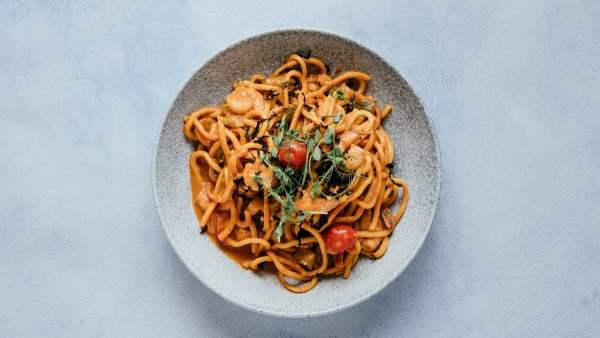 blu beach spaghetti prawns