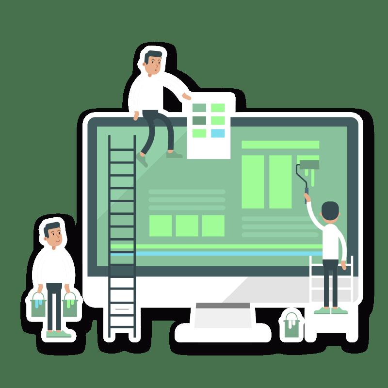 BluCactus Monitos pintando una pantalla para hacer una pagina web