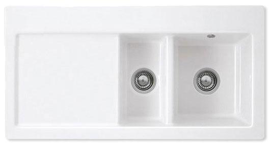 Bluci Avara 150 1.5 Bowl Ceramic Kitchen Sink with Drainer