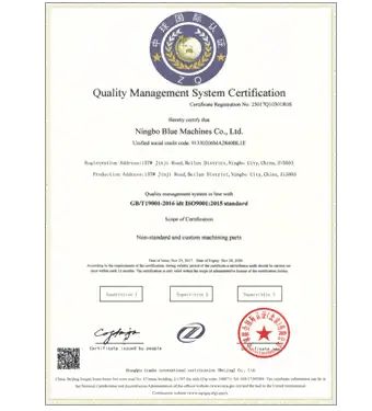 certificates of cnc turning services china