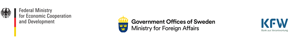 Logos BMZ, Ministry for Foreign Affairs Sweden, KfW