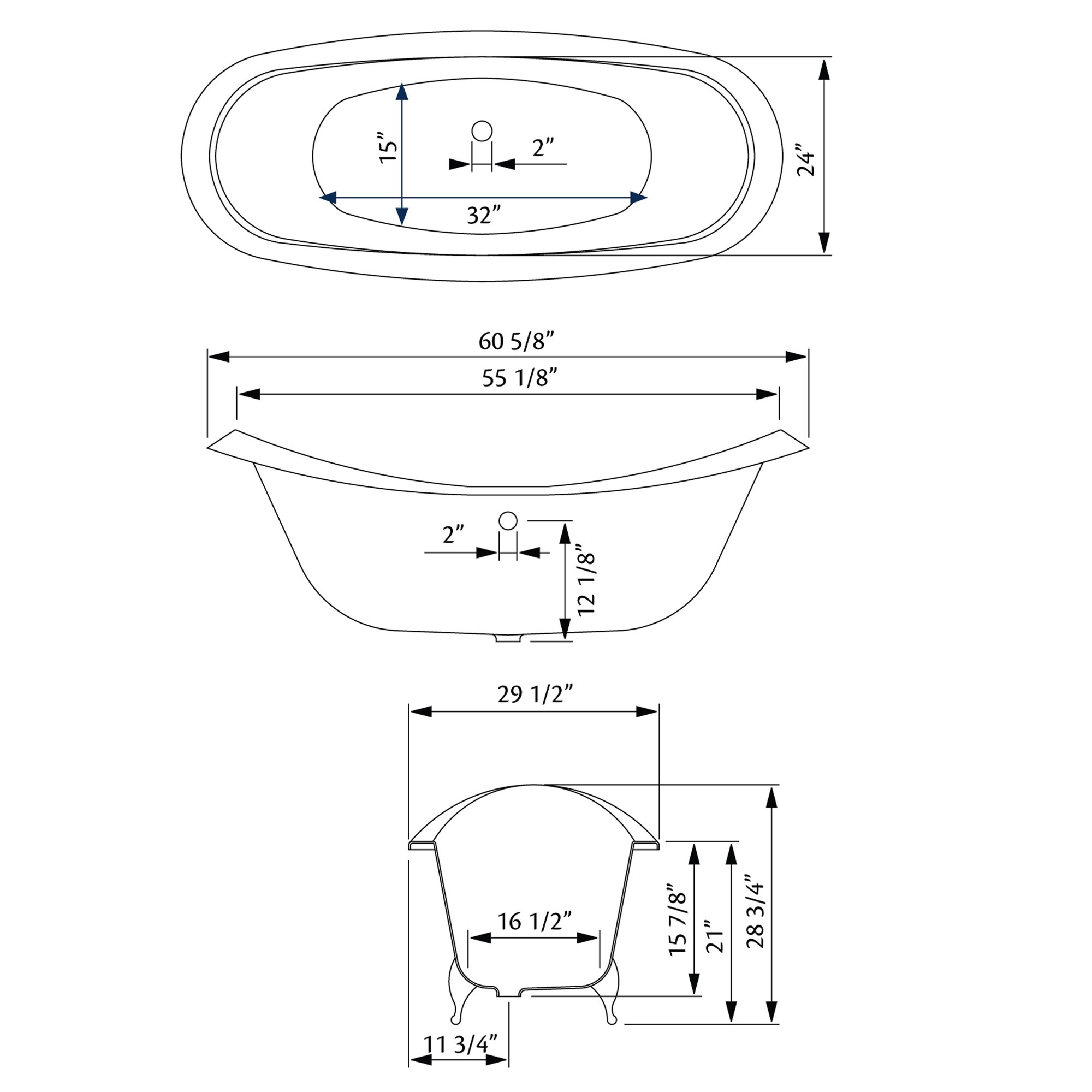 Cheviot Bb 6 Regency Cast Iron Bathtub With Faucet Holes Drilled At 6 Inch
