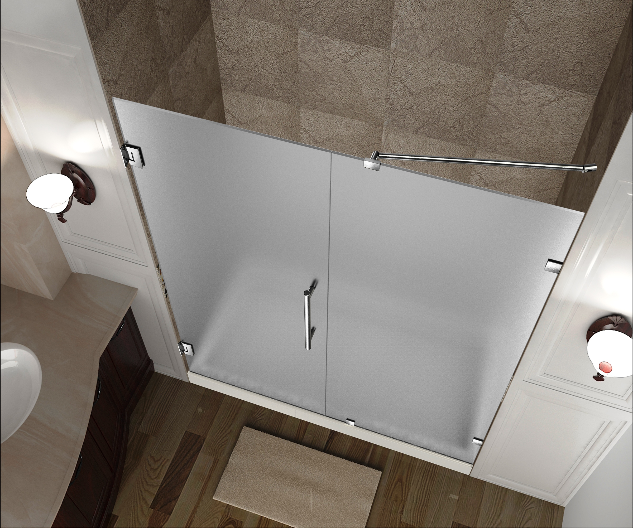 Details About Aston Sdr985f 31 10 31 X 72 Frameless Hinged Frosted Glass Shower Door