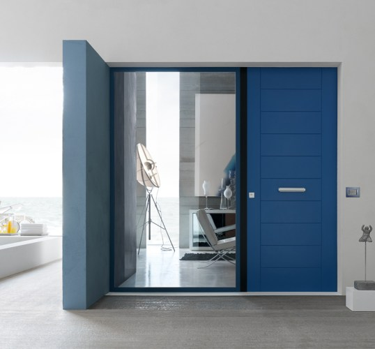 classic blue security door design