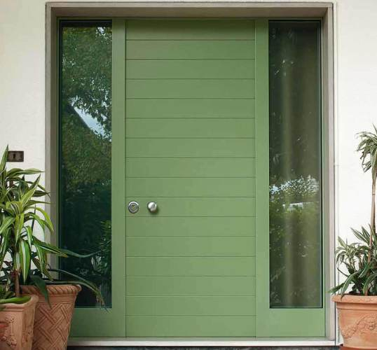 steel armoured green front door