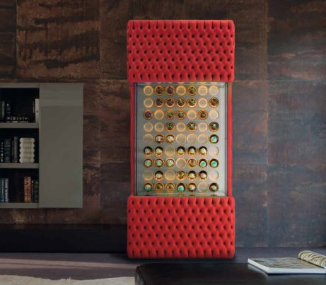 Wine Chiller Cabinet in red fabric finish