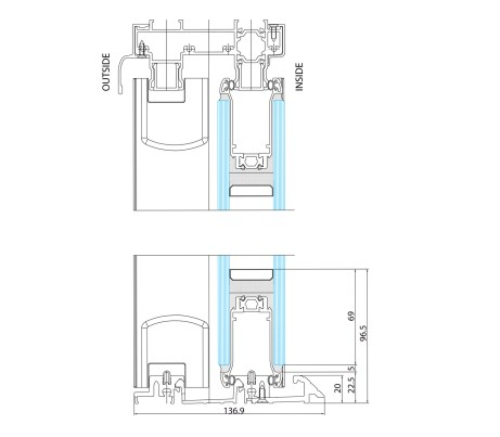 Side elevation technical drawing Lowered Threshold
