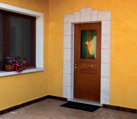 Security Door recessed with stone detail