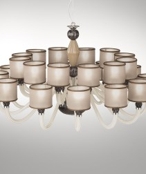 Radial Chandelier with fabric shades
