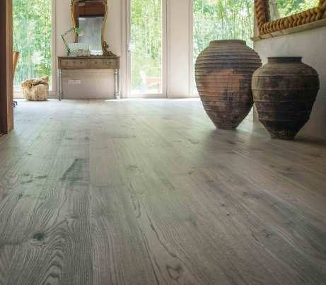 Grey strip Wooden Flooring Design