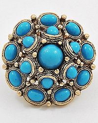 ANTIQUE GOLD TONE / TURQUOISE ACRYLICS / LEAD COMPLIANT / ADJUSTABLE RING