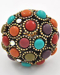 BURNISHED GOLD TONE / MULTI COLORED ACRYLIC / LEAD&NICKEL COMPLIANT / STRETCH RING