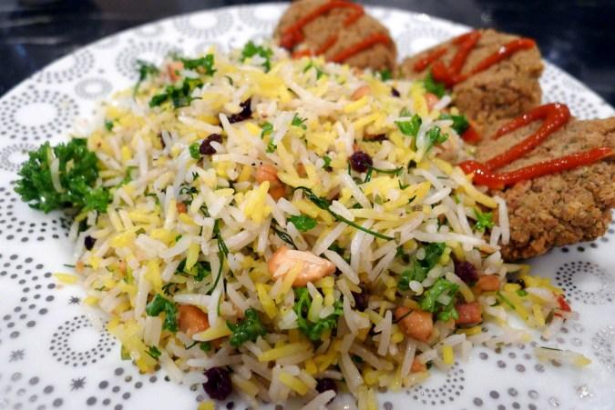 1003 saffron rice with falafel