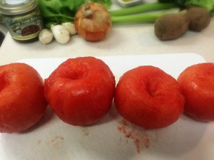 4. Admire Yoshi-san's de-skinned tomatoes and pre-heat oven to 170C (340F)